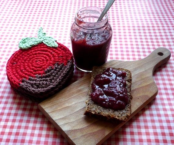 Rote Erdbeere häkeln Untersetzer Bauernhaus Küche Dekor | Etsy
