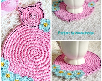 Crochet Pig Pattern - Crochet Coaster Pattern - Pig Coaster - Crochet Pig Diy - Farmhouse Table Decor - Crochet Pattern - Nursery Decor