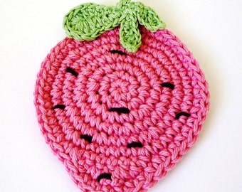 Crochet Strawberry Coaster - Crochet Pattern - Strawberry Coaster Pattern - Crochet Strawberry Pattern - Crochet Coaster Pattern
