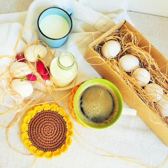 Häkeln Sie Sonnenblume Untersetzer rustikale Küche Dekor | Etsy