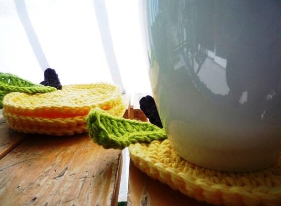 Häkeln Sie Apfel Drink Untersetzer Obst Teppich Tassen Set Etsy