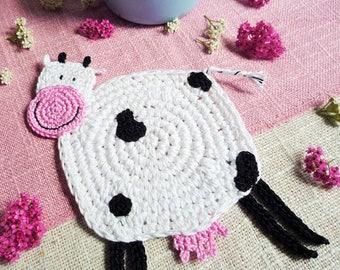 Cow Coasters - Animal Coasters - Farmhouse Table Decor - Cow Drink Coaster - Country Kitchen Decor - Wedding Gift - Set of 2 - Crochet Cow