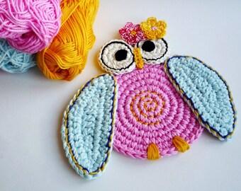 Crochet Owl Coasters - Crochet Bird Coasters - Crocheted Owl - Drink Coasters - Crochet Owl - Owl Kitchen Decor - Set of 2 - Wedding Gift
