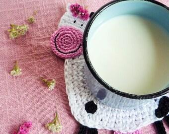 Crochet Cow Coaster - Cow Mug Rug - Animal Coaster - Farmhouse Decor -  Cow Drink Coaster - Country Kitchen Decor - Everyday Gift