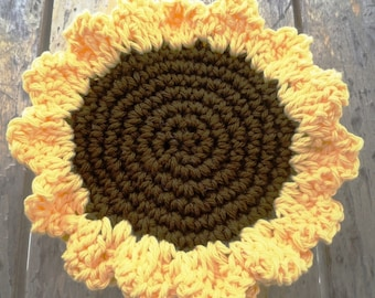 Crochet Sunflower Coaster Pattern - Crochet Coaster Pattern - Sunflower Pattern  - Crochet Pattern - Farmhouse Kitchen Decor - Autumn Decor
