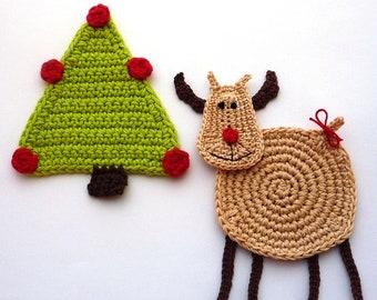 Reindeer Pattern - Crochet Pattern - Crochet Coaster Pattern - Christmas Pattern - Reindeer Coaster Tutorial - Christmas Table Decor