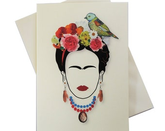 Greeting card - inspired by Frida kahlo - can frame for wall art - artwork by Betty Shek