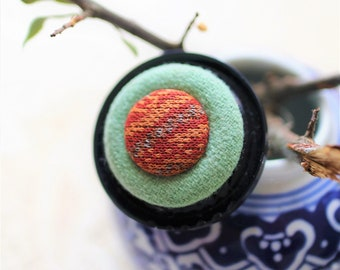 Navy, pastel green and brick Vintage Button Statement Pin