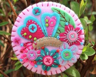 Butterfly In The Garden - Handmade Felt Brooch - Baby Pink
