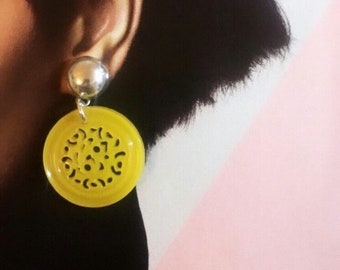 Bright lemon yellow vintage filigree vintage button statement earrings - 925 upcycled sterling silver findings