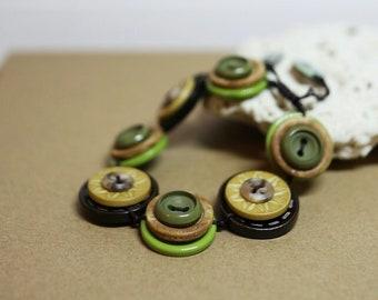 Autumn leaves color theme - Vintage Button Adjustable Bracelet