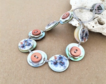 Flower Design Printed Pattern - Shell Button Handmade Adjustable Bracelet