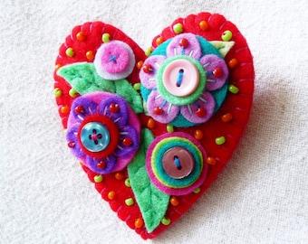 Japanese Art Inspired Handmade Heart Shape Felt Brooch - Red