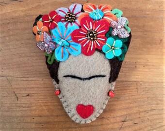Frida kahlo inspired handmade statement felt brooch