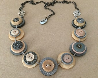 Beautiful Pale Salmon Pink And Grey Colour Theme Vintage Buttons Handmade Necklace - one off piece