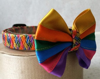 Large cat collar with bow tie / Harlequin pet collar / Funky collar / bow tie / colorful collar