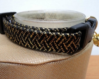 Breakaway Cat Collar Ribbon Braided in Black and Gold