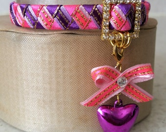 Cat collar breakaway, pink and purple collar with a heart bell and ribbon bow
