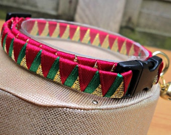 Christmas Cat Collar Breakaway Red Gold and Green