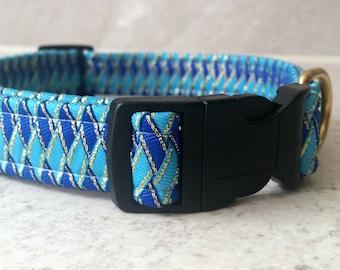Designer Dog Collar in unusual Blue braided ribbon design