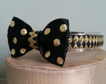 Formal cat collar bow tie Black and Gold