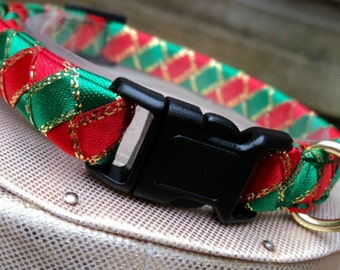 Christmas Cat Collar Red and Green Candy Cane Stripes