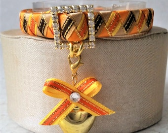 Breakaway Cat Collar in Orange Yellow and Brown with Heart bell and Ribbon bow