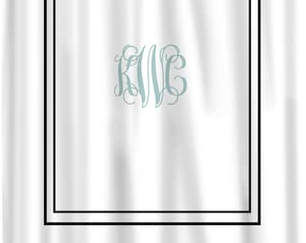 Custom Shower Curtain Simplicity In White Or Bottom Band Solid With Monogram Your Colors Any Color Frame