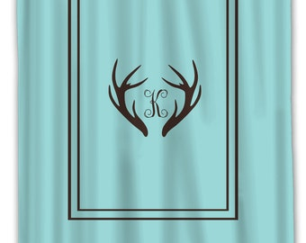 Custom Personalized Deer Antler Simplicity Shower Curtain Simple Classic Border