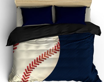 navy and black baseball theme bedding available toddlertwin tw xl fullqueen and king size - Baseball Bedding