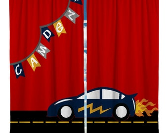 Custom Window Curtain Racing Car Theme Personalized Any Size