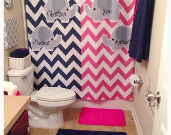 Split Color Elephant Theme Chevron Shower Curtain Hot Pink And Navy Or Any Two Combinations