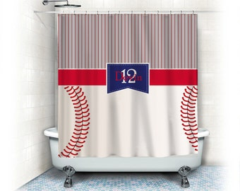 Monogrammed Baseball Stripes And Stitches Shower Curtain Stripe Top