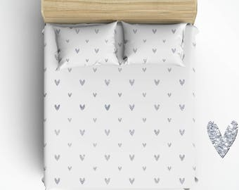 Custom Hearts Bed Sheets And Pillowcases, Silver Glitter Graphic Design,  All Bed Sizes, Any Color