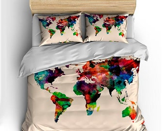 World map bedding etsy watercolor world map custom bedding toddler tw qu or ki and shams gumiabroncs Images