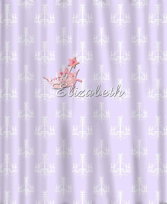 Custom Chandelier And Tiara Shower Curtain Lavender White