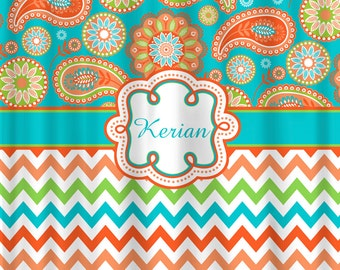 orange chevron shower curtain. Personalized Designer Gypsy Paisley  Chevron Shower Curtain Turquoise Orange Peach Lime Custom Extra Wide 6 Inch Stripes