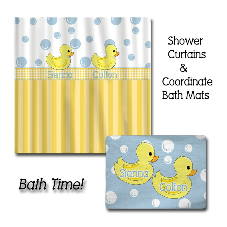 Personalized Rubber Duck Shower Curtain And Bath Mat Sets
