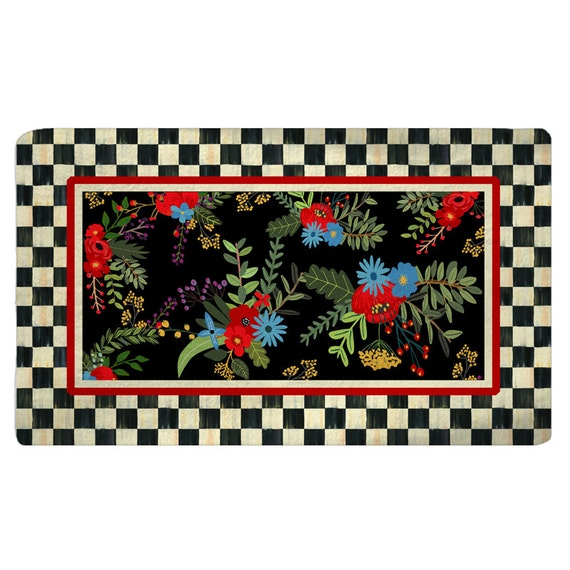 Checkerboard Rug: Black And Cream Checkerboard And Floral Rug Other Options