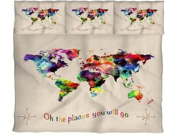 World map comforter etsy gumiabroncs Choice Image