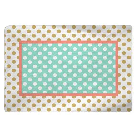 Gold-White-Coral-Mint Polka Dots Nursery Fuzzy Area Rug