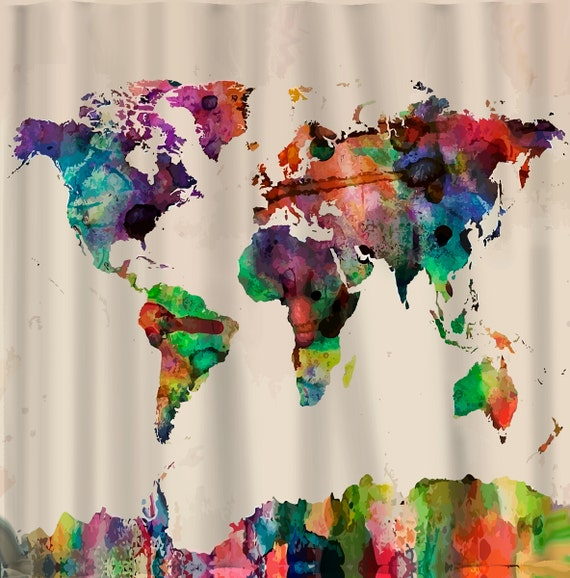 custom shower curtains watercolor world map standard or