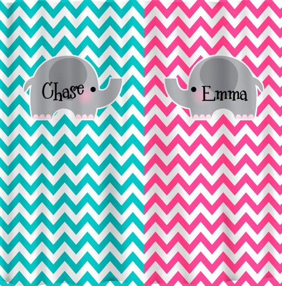 Split Color Elephant Theme Chevron Shower Curtain Hot Pink And Turquoise Chevron Any Two Color Combinations