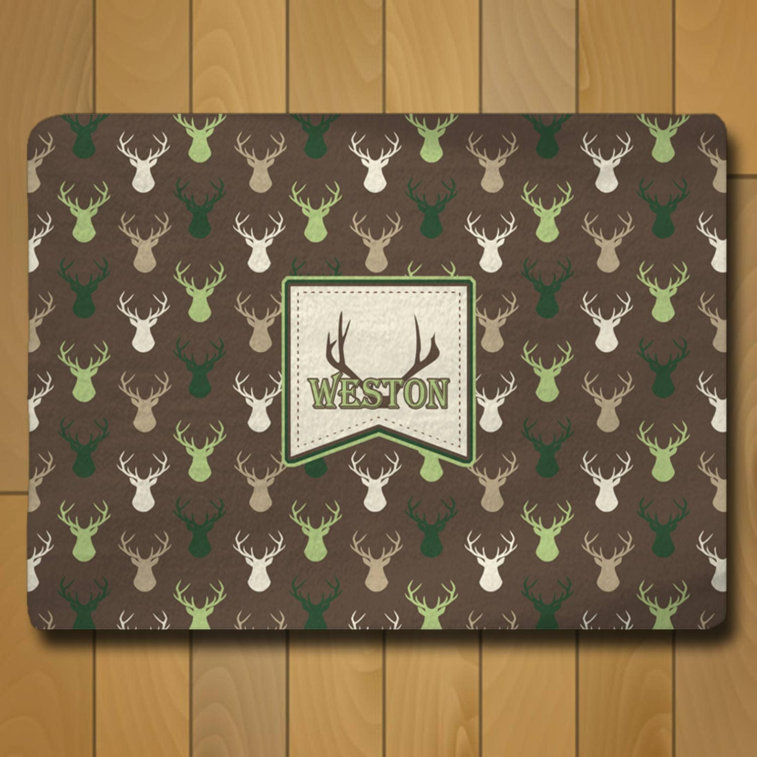 Deer Heads Forest Colors Furry Rug Personalized