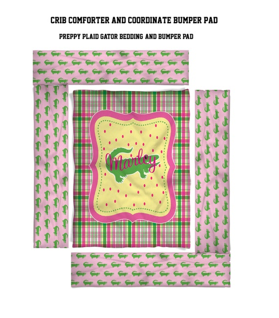 Preppy Plaid Gator Girls Nursery Baby Bedding Design Your Etsy