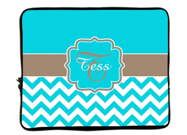 Turquoise Chevron-Taupe Accent 13 and 17 inch size available Personalized Monogram Designer Style Laptop Sleeves