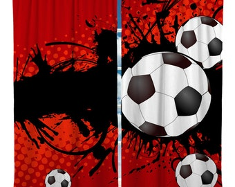 Custom Window Curtain, Soccer Theme Shown in Red, Blue, Green Options - Any Size - Any Colors - Any Pattern