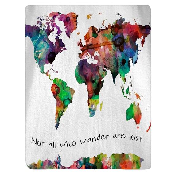Personalized watercolor world map plush fleece blanket etsy image 0 gumiabroncs Images