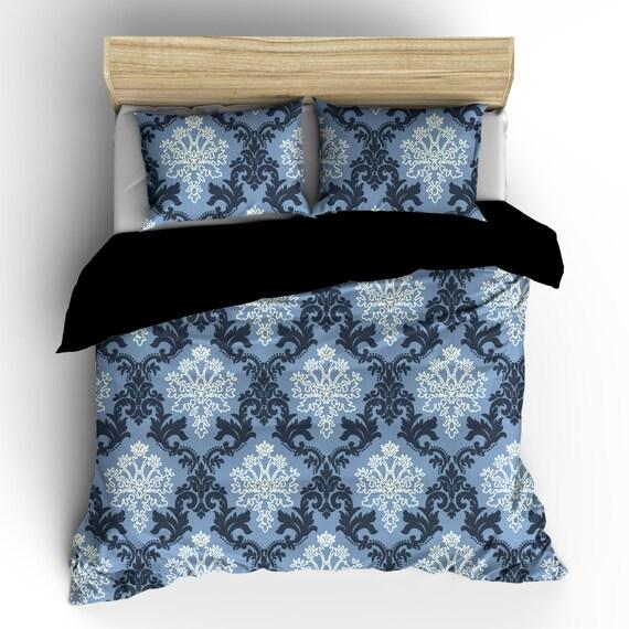 Damask Style Bedroom: Pesonalized Custom Damask Designer Style Bedding Smoky