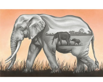 "Elephant Art Print - limited edition - ""Matriarch"""